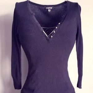 Bebe 3/4 Sleeve Sweater with Bling Buttons